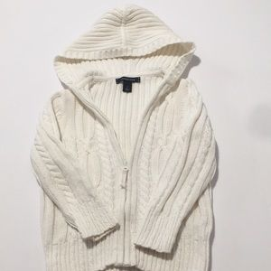 Lands End white cable hoodie sweater.